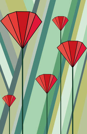 Poppies. Abstract floral background red flowers. Simple flat style. Vector illustration. The idea for postcards, posters, paintings.
