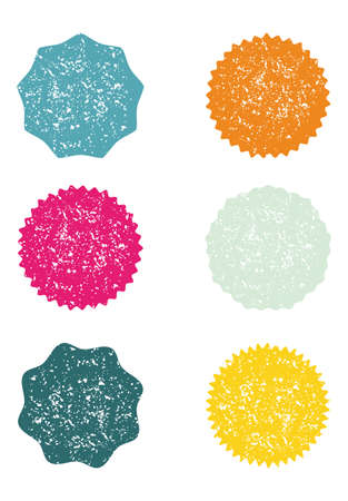 Starburst icon. Sunburst badges. Vector illustration with grunge effect with irregular dots, scratches, lines. Simple flat style. Set of 6 different types and color. Geometric label. Ilustração