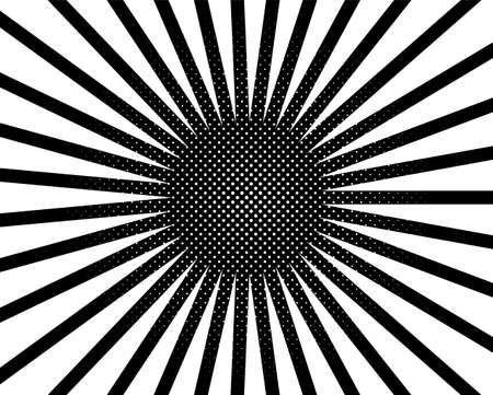 Halftone dotted background pop art style. Pattern with circles, dots tadiating from the center starburst, sun burst rays, lines. Backdrop design for web banners, wallpaper,sites Vector illustration Illustration