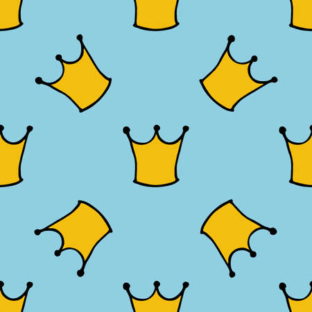 kiddie: Seamless pattern with doodle crowns. Cute baby background for printing on textile, fabric, surfaces, patchwork, scrap-booking vintage retro style.