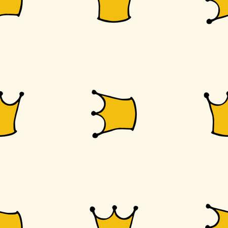 bolt: Seamless pattern with doodle crowns. Cute baby background for printing on textile, fabric, surfaces, patchwork, scrap-booking vintage retro style.