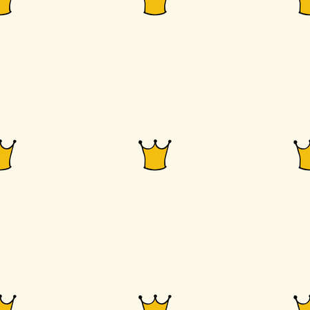 Seamless pattern with doodle crowns. Cute baby background for printing on textile, fabric, surfaces, patchwork, scrap-booking. Vintage retro style.
