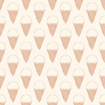 Modello senza cuciture con gelato. Sfondo carino in stile retrò vintage. Illustrazione vettoriale senza soluzione di continuità per la stampa su tessuti, tessuti, superfici, articoli per bambini, carta, pelli, prenotazione rottami. Archivio Fotografico - 82186690