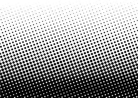 Modelo de semitono. Fondo de cómic. Punto retro telón de fondo con círculos, puntos. Elemento de diseño para banners web, carteles, tarjetas, fondos de pantalla, sitios. Estilo del arte pop. Ilustración del vector. En blanco y negro Foto de archivo - 82186066