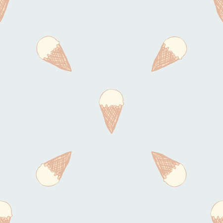 baby stuff: Seamless pattern with ice cream. Cute background in vintage retro style. Seamless vector illustration for printing on textiles, fabrics, surfaces, baby stuff, paper, skins, scrap-booking.