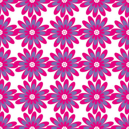 intersecting: Floral seamless pattern. Vector illustration with abstract flowers. Repeating background for printing on fabric, textiles, surfaces, paper, wrapper. Two colors pink and purple. Bright, simple design