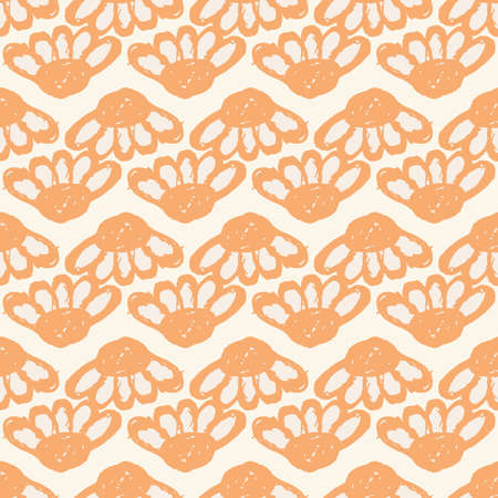 Floral pattern with large flower buds and Echinacea. Simple seamless pattern for print on fabric, textiles, surfaces. Vector illustration