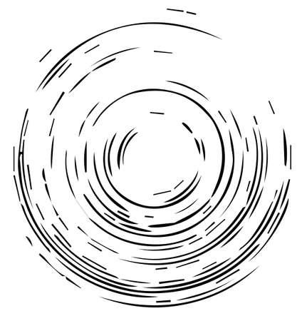 동심원 형상 패턴 흑백 벡터 일러스트 레이 션.