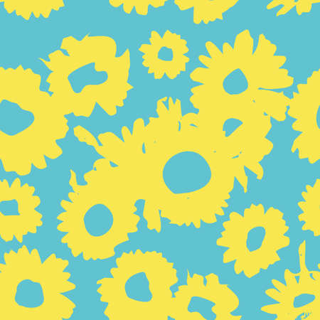 Blue-yellow pattern with daisies. Millefleurs liberty style. Ditsy floral pattern for printing on fabric, mens and womens clothes