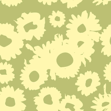 Yellow-green pattern with daisies. Millefleurs liberty style. Ditsy floral pattern for printing on fabric, mens and womens clothes