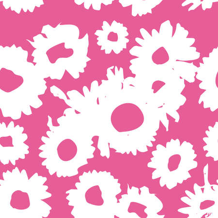 Pink-white pattern with daisies. Millefleurs liberty style. Ditsy floral pattern for printing on fabric, mens and womens clothes