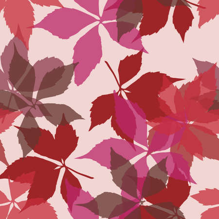 Seamless pattern with falling leaves. Background with autumn virginia creeper leaves. Simple bright design for printing on fabric, textiles, paper, wallpapers, banners, backdrops. Vector illustration