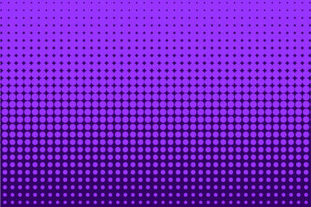 Comic background purple, lilac color. Halftone dotted retro pattern with circles, dots, design element for web banners, posters, cards, wallpapers, backdrops, sites Pop art style. Vector illustration Illustration
