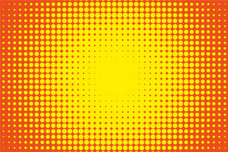 Comic pattern halftone background in orange-yellow color Illustration