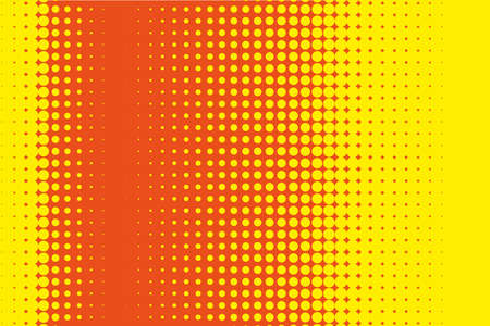 rounds: Comic pattern. Halftone background. Orange-yellow color. Dotted retro backdrop, panels with dots, points, circles, rounds. Design element for web banners, posters, cards, wallpaper, sites.