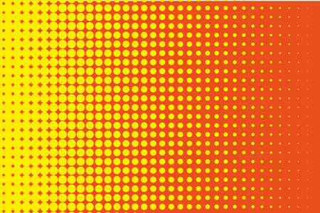 Comic pattern. Halftone background. Orange-yellow color. Dotted retro backdrop, panels with dots, points, circles, rounds. Design element for web banners, posters, cards, wallpaper, sites.