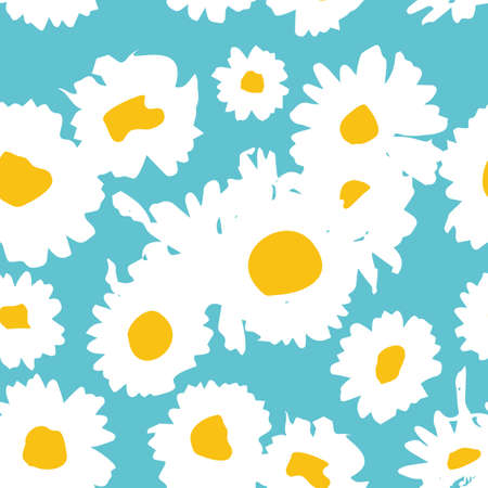 calico: Floral background with daisies. A simple pattern for textile printing, decoration, paper, scrapbooking, patchwork. Vector illustration