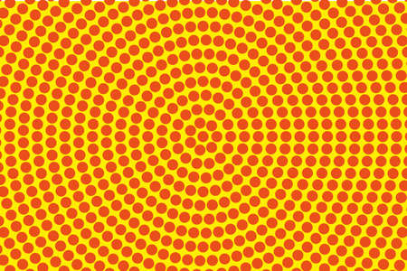 Dotted retro backdrop, panels with dots, points, circles, rounds. Comic pattern. Halftone background. Orange-yellow color.  Design element for web banners, posters, cards, wallpaper, sites, covers Illustration