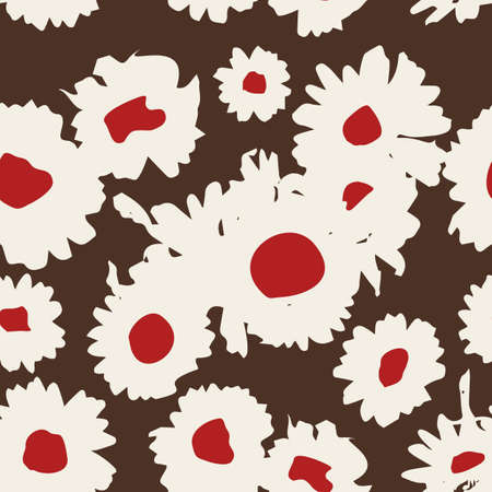 Floral background with chamomiles. A simple pattern for textile printing, decoration, paper, scrapbooking, patchwork. Vector illustration