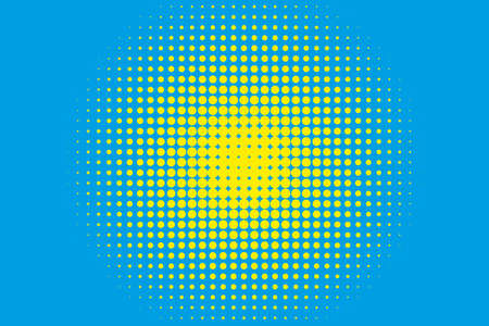 Cartoon pattern with circles, dots Halftone dotted background. Pop art style. Design element, border for web banners, cards, wallpapers. Colorful. Yellow and blue color. Vector illustration