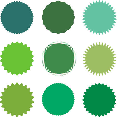 Set of vector starburst, sunburst badges. Different shades of green. Simple flat style Vintage  labels. Design elements. Colored stickers. A collection of different types and colors icon.
