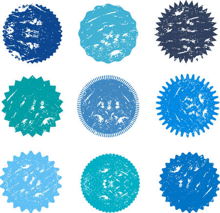 Set of vector starburst, sunburst badges, labels, stickers with grunge effect, fading, scratches, dust. Different shades of blue color. Design elements. A collection of different types icon.