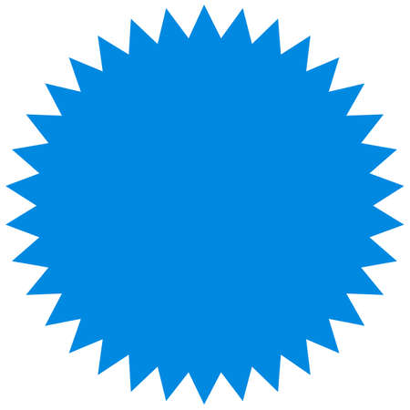 Vector starburst, sunburst badge. Blue color. Simple flat style. Vintage label, sticker. Design elements.