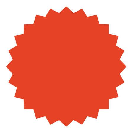 Red starburst, sunburst badge.  Vintage label, sticker. Simple flat style.Design elements. Vector illustration Illustration