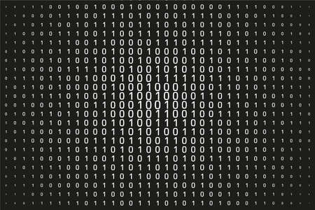 Random numbers and 1. Background in a matrix style. Binary code pattern with digits on screen, falling character. Abstract digital backdrop. Vector illustration