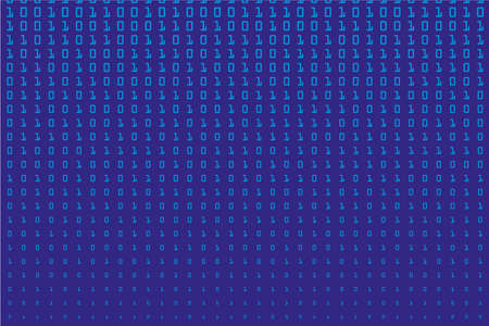 Random numbers and 1. Background in a matrix style. Binary code pattern with digits on screen, falling character. Abstract digital backdrop. Vector illustration Ilustração Vetorial