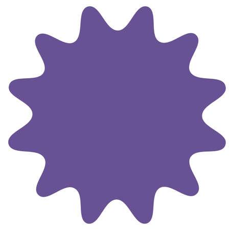 Icoon van starburst, sunburst badge, label, sticker. Paars, lila, violette kleur. Eenvoudige vlakke stijl Vintage designelementen. Vector illustratie Stock Illustratie