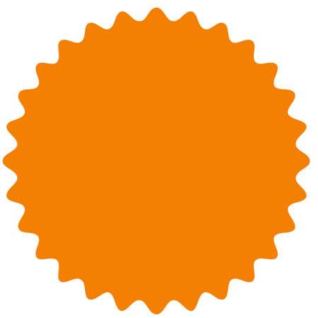 Starburst vettoriale, distintivo sunburst. Colore arancione. Etichetta vintage semplice stile piano, adesivo. Elementi di design Illustrazione vettoriale Vettoriali
