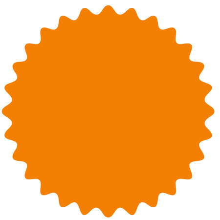 Vector starburst, sunburst badge. Orange color. Simple flat style Vintage  label, sticker. Design elements. Vector illustration