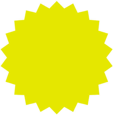 Vector starburst, sunburst badge. Yellow color. Simple flat style Vintage  label, sticker. Design elements. Vector illustration Ilustração
