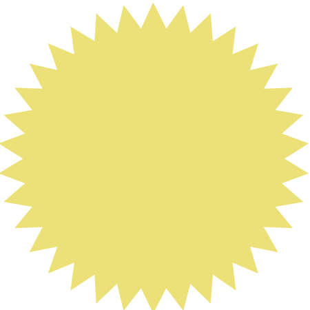 Vector starburst, sunburst badge. Yellow color. Simple flat style Vintage  label, sticker. Design elements. Vector illustration Illustration
