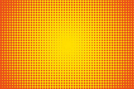 Cartoon pattern with circles, dots, points. Halftone dotted background. Pop art style. Design element, border for web banners, cards, wallpapers.  Yellow and orange color. Vector illustration Çizim