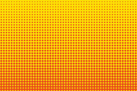 Cartoon pattern with circles, dots, points. Halftone dotted background. Pop art style. Design element, border for web banners, cards, wallpapers.  Yellow and orange color. Vector illustration Illustration