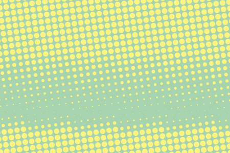 Halftone background. Comic dotted pattern. Pop art retro style. Backdrop with circles, rounds, dots, design element for web banners, posters, cards, wallpapers. Green-mint and yellow color Illustration