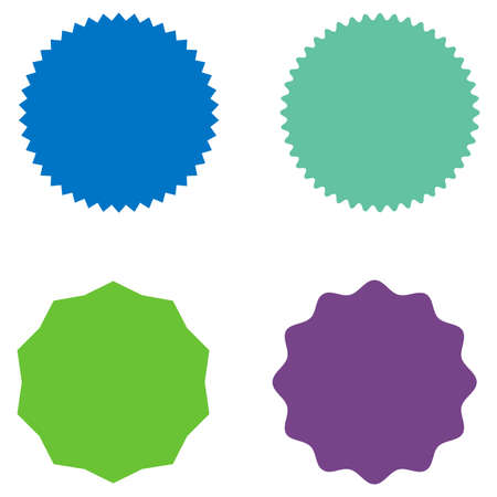 Set of starburst, sunburst badges, labels, stickers. Blue, green, purple color. Simple flat style. Vintage, retro. Design elements. A collection of different types icon. Vector illustration