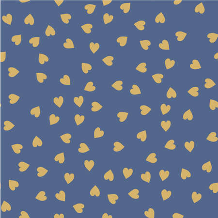 disposed: Vector seamless pattern. Randomly disposed hearts. Cute background for print on fabric, paper, scrapbooking. Modern graphic design. Creative print Illustration
