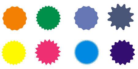 Colorful starburst badges. Ilustração