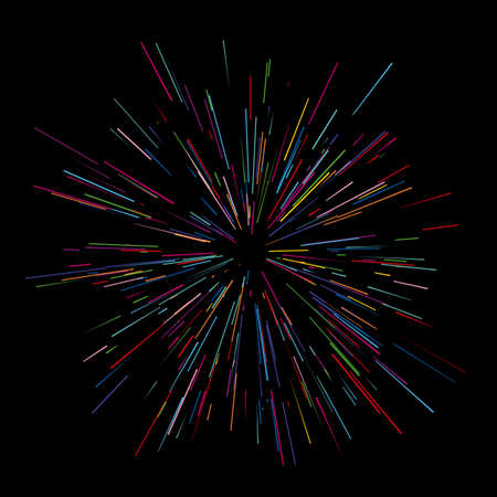 radiant: Colorful fireworks Radiating from the center of thin beams, lines. Vector illustration. Dynamic style. Abstract explosion, speed motion lines from the middle, radiating sharp