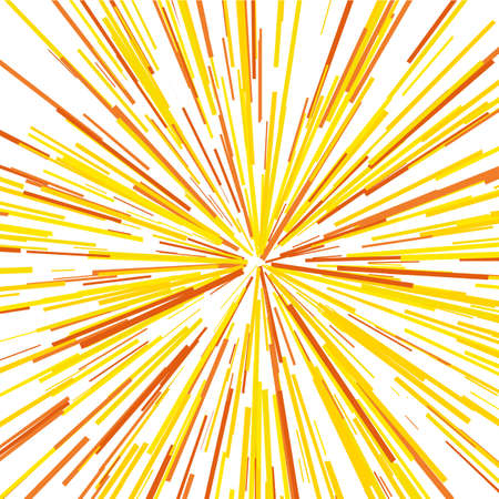 Radiating from the center of thin beams, lines. Vector illustration. Yellow color Dynamic style. Illustration