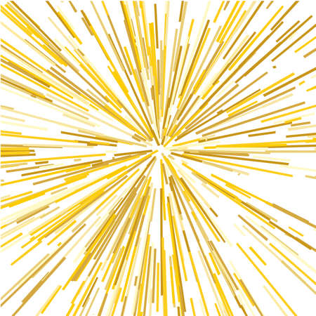 Radiating from the center of thin beams, lines; Yellow color dynamic style; Abstract explosion, speed motion lines from the middle, radiating sharp illustration.
