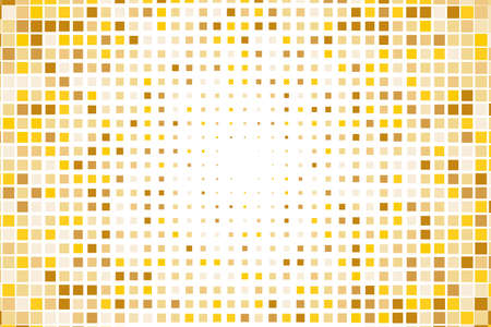 halftone cover: Abstract geometric pattern with small squares like ceramic tile. Design element for web banners, posters, backgrounds, cards, wallpapers, backdrops, panels Gold, yellow color Vector illustration