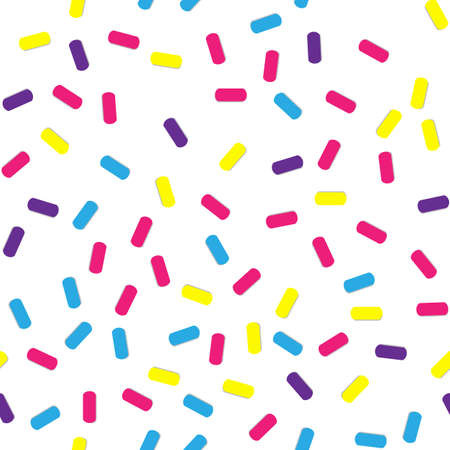 Festival seamless pattern with confetti or donuts glaze, sprinkles. Repeating background.