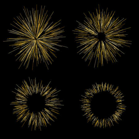 Gold fireworks Radiating from the center of thin beams, lines. Vector illustration. Dynamic style. Abstract explosion, speed motion lines from the middle, radiating sharp Illustration
