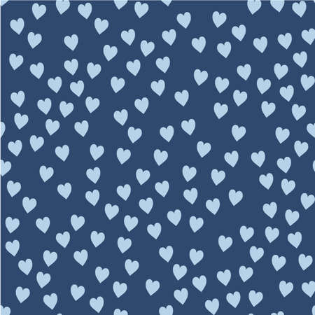 Vector seamless pattern. Randomly disposed hearts. Cute background for print on fabric, paper, scrapbooking. Modern graphic design. Hipster creative tileable print Illusztráció