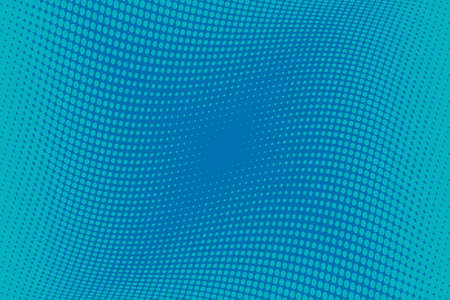 Blue Wavy pattern Halftone background. Comic dotted backdrop with circles, dots, rounds, design element for web banners, posters, cards, wallpaper, sites. Pop art style. Vector illustration
