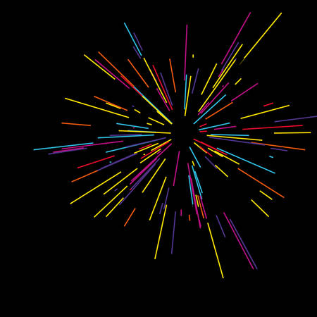 Colorful fireworks radiating from the center of thin beams. Illustration